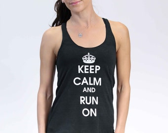 XS - Keep Calm and Run On Racerback Tank - Black with White Print - Women's - by Runner's Booty (Extra Small)