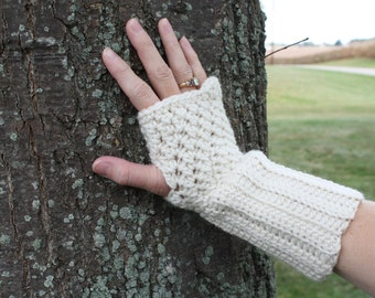 Fingerless Gloves, Texting Gloves, Women's Gloves,  Wrist Warmers, Nicely Textured Pattern, Longer Cuff for Warmth and Comfort
