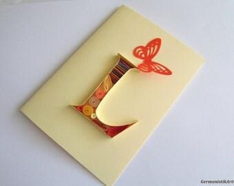 L Initial Letter Card, Personalized card, Blank birthday card, Greeting Card, L card, Monogram card, Alphabet card, Letter art, custom card