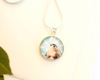Silver sterling bird cabochon necklace, light blue glass pendant, children pendant necklace, child jewelry, kids jewellery