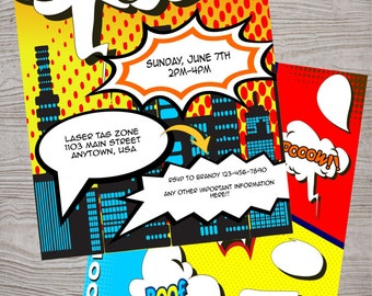 Superhero birthday  party invitation. printable. digital download