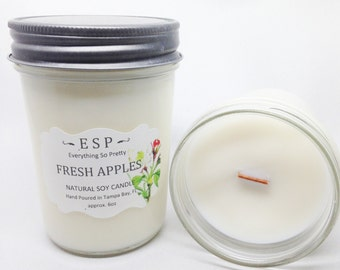 Fresh Apples wood wick, natural soy candle in glass jelly jar with lid 6oz