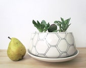 Large Low Hexagon Planter. Black and white. Honeycomb. Modern. Geometric. Home decor. Handmade. Drainage hole. Wedding. MADE TO ORDER.
