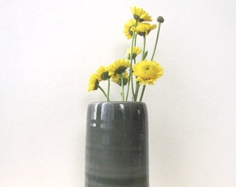 Tall Dark Grey Green Vase. Minimal. Cylinder. Modern. Home decor. Handmade porcelain. Wedding gift. Flower vase. Ready TO SHIP NOW
