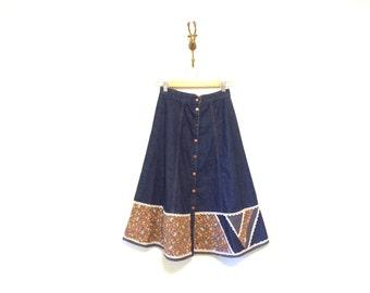 70s Gunne Sax Woodland Prairie Skirt