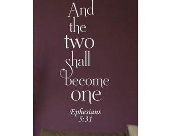 And Two Shall Become One....Vinyl Wall Decal Sticker Home Decor Sharp