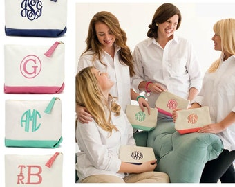 SET OF 3 Personalized Cosmetic Bags Bridesmaids gifts' Pink Navy Black Coral Mint
