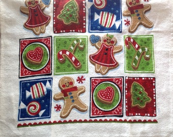 Gingerbread Squares Crocheted Top Towel  (C17)