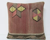 """Turkish cushion 18"""" sofa throw pillow kilim pillow cover decorative pillow case couch outdoor floor bohemian boho ethnic rustic accent 21805"""