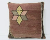 """Turkish cushion 18"""" sofa throw pillow kilim pillow cover decorative pillow case couch outdoor floor bohemian boho ethnic rustic accent 21806"""