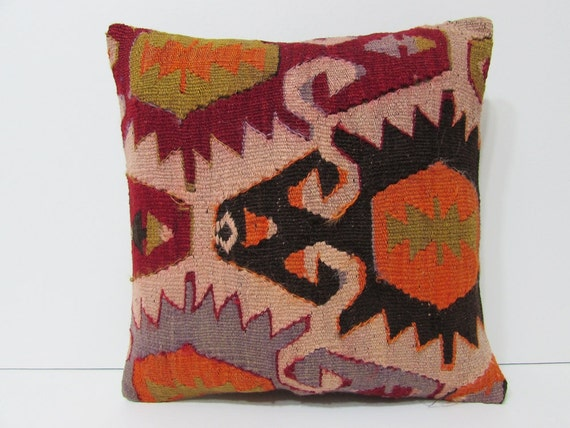 Turkish Kilim Throw Pillows : Turkish cushion sofa throw pillow kilim by DECOLICKILIMPILLOWS