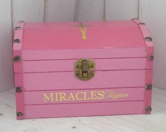 Pink Christian Trinket Box For Keepsake Storage or Jewelry