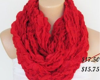 Red Circle Scarf -Infinity Loop Scarf-Shawl Scarf-Neckwarmer-Cowl Scarf-Pashmina Scarf-Winter Accessories