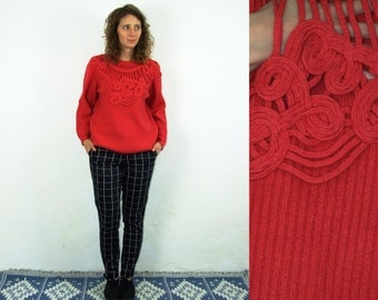 80's vintage women's red knitted patterned blouse/sweater