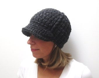 Women's Newsboy Hat - Ladies Womens Brimmed Hat - Crochet Knit Newsboy Hat - Adult Newsboy Hat - Charcoal