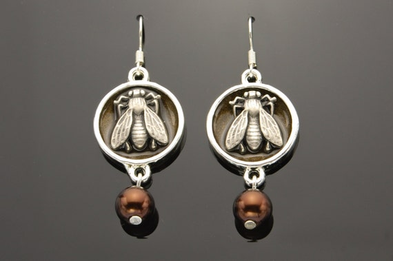 Steampunk Dangly Earrings, Insect, Fly , Silver, Brown Pearly Beads, Hand Made