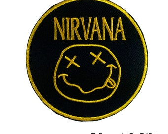 Nirvana Embroidered Patch Iron on, Grunge alternative rock American Style Music (7.3 x 7.3 cm)
