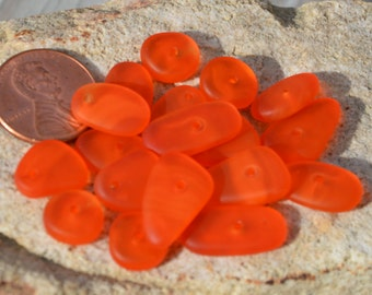 New~ LARGE THIN 20pcs(3.5X10-17mm) Tangerine Swirl Spacer Cultured Drilled Sea Glass Beach Glass Beads