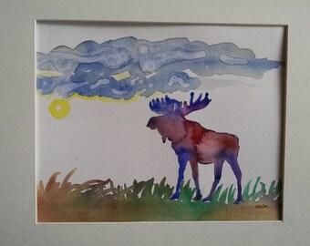 Moose watercolor painting, original wildlife watercolor painting, original moose art