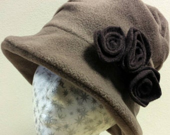 Handmade Fudge Coloured Fleece Hat With Cosy Fleece Lining and Chocolate Fleece Flowers