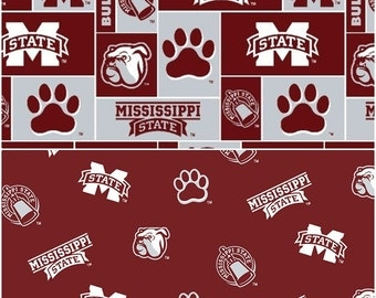 NCAA Mississippi State University Bulldogs Maroon, White, & Grey College Logo Cotton Fabric by Sykel! [Choose Your Cut Size]
