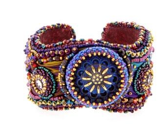 Bead Embroidered Shibori Ribbon Cuff Bracelet