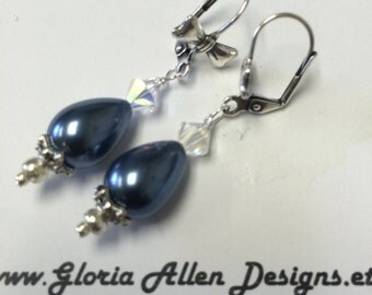 Genuine Mother of Pearl Saphire Blue Earrings, Blue Pearl Earrings, Mother of Pearl Earrings