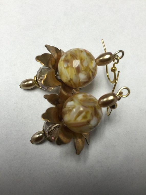 gold floral gemstone earrings yellow flower earrings