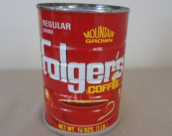 Old Vintage Folger's  Red Metal Coffee Can 16 Oz Mountain Grown Regular Grind Mountain Grown