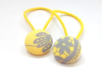 Yellow and grey fabric hair ties, hair bands, ponytail holder, set of 2