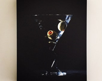 Martini glass with olives canvas print