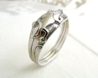 GECKO - Unique Puzzle Rings by PuzzleRingMaker - Sterling Silver or Gold - 3 Bands