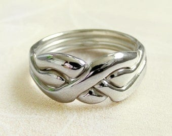 ORIGIN - Unique Puzzle Rings by PuzzleRingMaker - Sterling Silver or Gold - 3 Bands