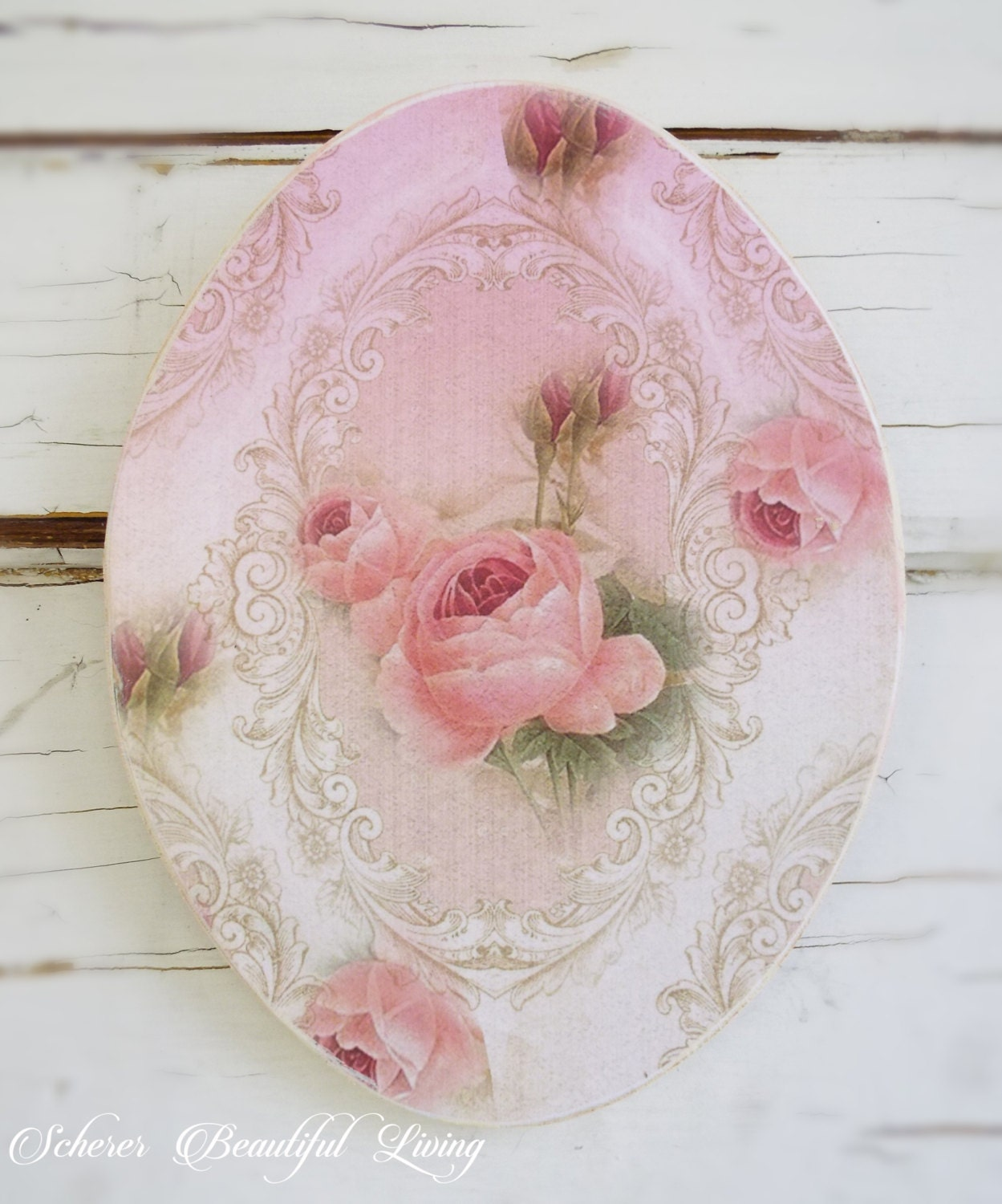 shabby rose chic plaque sign floral art. Black Bedroom Furniture Sets. Home Design Ideas