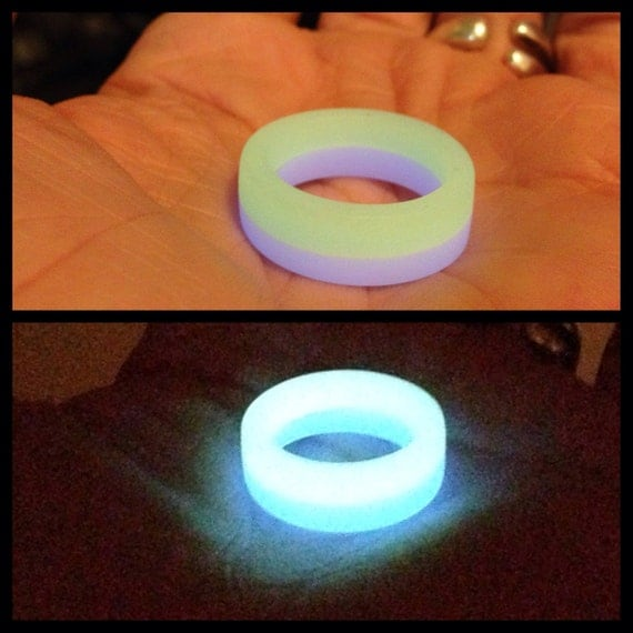 Sky blue green glow in the dark resin ring by for Glow in the dark resin