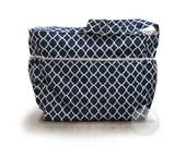 Large zipper top grey stripe and navy quatrefoil diaper bag / knitting bag / tote bag