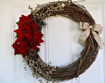 Monogram Front Door Wreath | Red Poinsetta Floral Arrangement