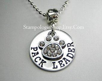 Pack Leader, Dog necklace, dog Keychain, dog mom gift, hand stamped jewelry, pet gift
