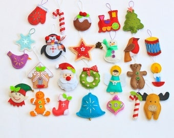 Felt Christmas ornaments - pack of 25