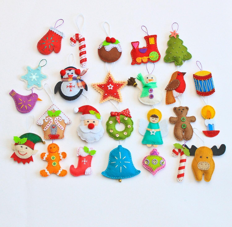 Felt Christmas Tree Advent Calendar: Felt Christmas Ornaments Pack Of 25 By MiracleInspiration