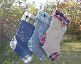 Christmas Stockings Denim Corduroy Khaki Carhartt and Flannel