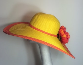 Yellow and Orange Wide Brim Kentucky Derby Sun Hat with Bow Detail