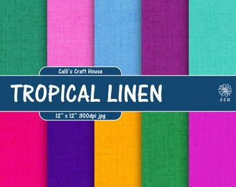 Tropical Linen Texture Digital Paper - tropical colors linen - linen fabric - linen textile background - Commercial Use - Instant Download