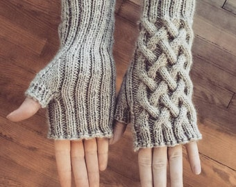 Criss Cross Cable Knit Wool Handwarmers
