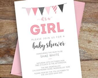 Baby Shower Invite, It's a Girl, Printable file, Digital File, DIY Invite