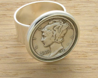 1924-1945 Mercury Dime-On Ring - Birthday or Anniversary Gift Coin Jewelry