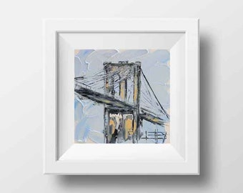 New York Art, Brooklyn Bridge, New York Print, New York Landscape, Oil painting print,8x8, New York City Print, Print, Art, New York City