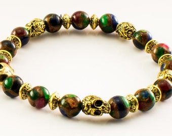 Old World Pirate Skull Bracelet - Buccaneer Bracelet, Charm, Privateer Bracelet, Pirate Jewelry, Pirate Party, Beach Nautical Jewelry