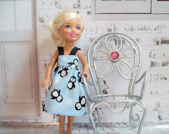 "Handmade Chelsea Doll Clothes - Blue, Black and White Penguin Dress, 5.5"" Doll Clothes, Little Sister Clothes"