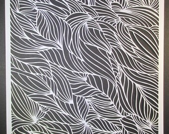 Water tracks, papercut, handmade